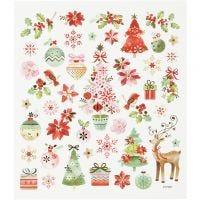 Stickers, romantische kerst, 15x16,5 cm, 1 vel