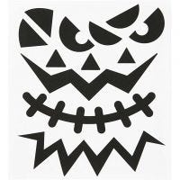 Stickers, Halloween - grote gezichten, 15x16,5 cm, 1 vel