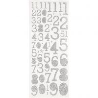 Glitterstickers, cijfers, 10x24 cm, zilver, 2 vel/ 1 doos