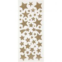 Glitterstickers, sterren, 10x24 cm, goud, 2 vel/ 1 doos