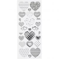 Stickers, harten, 10x24 cm, zilver, 1 vel