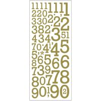 Glitterstickers, cijfers, 10x24 cm, goud, 2 vel/ 1 doos
