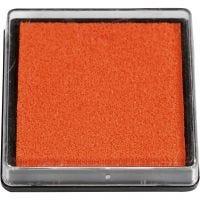 Inktkussen, afm 40x40 mm, oranje, 1 stuk