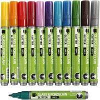 Glas- & Porseleinstiften, lijndikte 2-4 mm, semi-dekkend, diverse kleuren, 12 stuk/ 1 doos