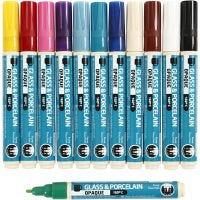 Glas- & Porseleinstiften, lijndikte 2-4 mm, dekkend, diverse kleuren, 12 stuk/ 1 doos