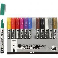 Glas- & Porseleinstiften, lijndikte 1-2 mm, semi-dekkend, diverse kleuren, 12 stuk/ 1 doos