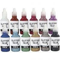 Glitterlijm, diverse kleuren, 12x25 ml/ 1 doos