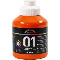 School acrylverf glossy, glossy, oranje, 500 ml/ 1 fles