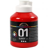 School acrylverf glossy, glossy, rood, 500 ml/ 1 fles