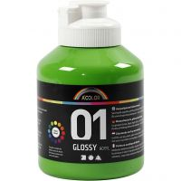 School acrylverf glossy, glossy, lichtgroen, 500 ml/ 1 fles