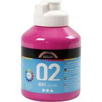 School acrylverf mat, matt, roze, 500 ml/ 1 fles