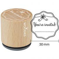 Houten stempel, You're invited , H: 35 mm, d: 30 mm, 1 stuk