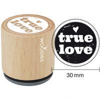 Houten stempel, true love , H: 35 mm, d: 30 mm, 1 stuk