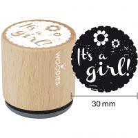 Houten stempel, It's a girl , H: 35 mm, d: 30 mm, 1 stuk