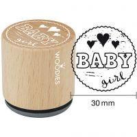 Houten stempel, Baby girl , H: 35 mm, d: 30 mm, 1 stuk