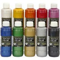 Textile Color, parelmoer, diverse kleuren, 10x250 ml/ 1 doos