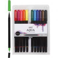 Aquarel marker, lijndikte 2+4-8 mm, standaardkleuren, 12 stuk/ 1 doos