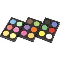 Waterverf, H: 16 mm, d: 44 mm, neon kleuren, extra kleuren, 1 set