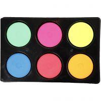 Waterverf, H: 16 mm, d: 44 mm, neon kleuren, 1 set