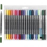 Textielstiften, lijndikte 2,3+3,6 mm, extra kleuren, 20 stuk/ 1 doos
