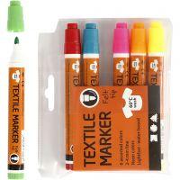 Textielstiften, lijndikte 2-4 mm, neon kleuren, 6 stuk/ 1 doos