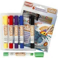 Playcolor textielverf, L: 14 cm, diverse kleuren, 6 stuk/ 1 doos, 5 gr