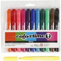 Colortime stift, lijndikte 5 mm, standaardkleuren, 12 stuk/ 1 doos