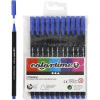 Colortime Fineliner , lijndikte 0,6-0,7 mm, donkerblauw, 12 stuk/ 1 doos