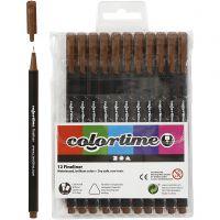 Colortime Fineliner , lijndikte 0,6-0,7 mm, bruin, 12 stuk/ 1 doos