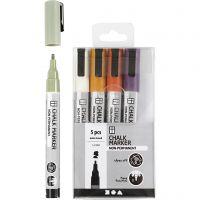Chalk markers, lijndikte 1,2-3 mm, pastelkleuren, 5 stuk/ 1 doos