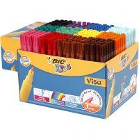 Visa fijne kleurstiften, lijndikte 1,6 mm, diverse kleuren, 12x24 stuk/ 1 doos