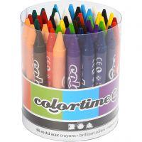Colortime kleurkrijt, L: 10 cm, dikte 11 mm, diverse kleuren, 48 stuk/ 1 doos