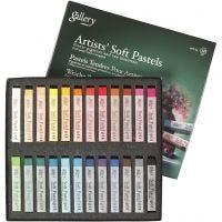 Gallery Soft Pastel Set, L: 6,5 cm, dikte 10 mm, diverse kleuren, 24 stuk/ 1 doos