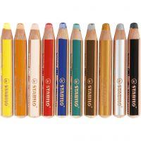 Woody 3-in-1, L: 11 cm, dikte 16 mm, vulling 10 mm, diverse kleuren, 10 stuk/ 1 doos