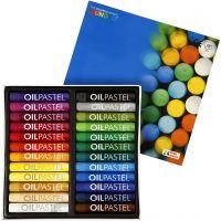 Mungyo Oliepastel, L: 7 cm, dikte 11 mm, diverse kleuren, 24 stuk/ 1 doos