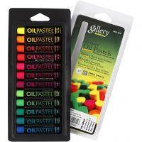 Gallery Oliepastel, L: 7 cm, dikte 11 mm, neon kleuren, 12 stuk/ 1 doos