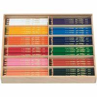 Super Ferby 1 Kleurpotloden, L: 18 cm, vulling 6,25 mm, diverse kleuren, 12x12 stuk/ 1 doos