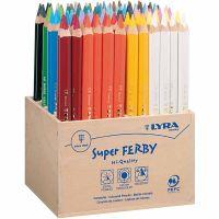 Super Ferby 1 Kleurpotloden, L: 18 cm, vulling 6,25 mm, diverse kleuren, 96 stuk/ 1 doos