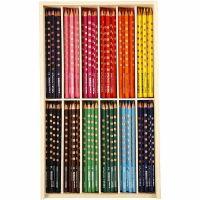 Groove Dunne Kleurpotloden, L: 18 cm, vulling 3,3 mm, diverse kleuren, 12x12 stuk/ 1 doos