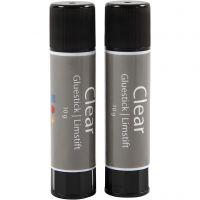 Transparante lijmstift, rond, 2 stuk/ 1 doos, 10 gr