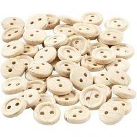Houten knopen, d: 8 mm, 2 gaten, 50 stuk/ 1 doos