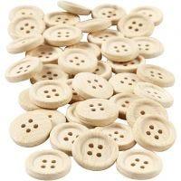 Houten knopen, d: 18 mm, 4 gaten, 40 stuk/ 1 doos