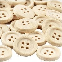 Houten knopen, d: 23 mm, 4 gaten, 30 stuk/ 1 doos