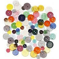 Knopen mix, d: 12+18+20 mm, diverse kleuren, 100 stuk/ 1 doos, 50 gr