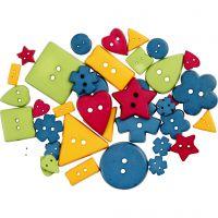 Knopen, d: 8-18 mm, gatgrootte 2 mm, sterke kleuren, 37 stuk/ 1 doos