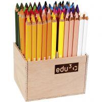 Edu Jumbo kleurpotlood, dikte 10 mm, vulling 6,25 mm, diverse kleuren, 96 stuk/ 1 doos