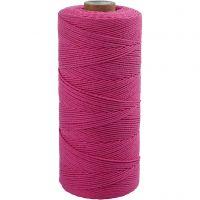 Katoenkoord, L: 315 m, dikte 1 mm, Dunne kwaliteit 12/12, roze, 220 gr/ 1 bol