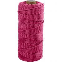 Katoenkoord, L: 100 m, dikte 2 mm, Dikke kwaliteit 12/36, roze, 225 gr/ 1 bol