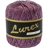 Lurex glitter garen, L: 160 m, paars, 25 gr/ 1 bol
