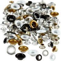 Eyelets, H: 2,9+3,15 mm, d: 5+8 mm, gatgrootte 3,2+4,8 mm, 120 stuk/ 1 doos